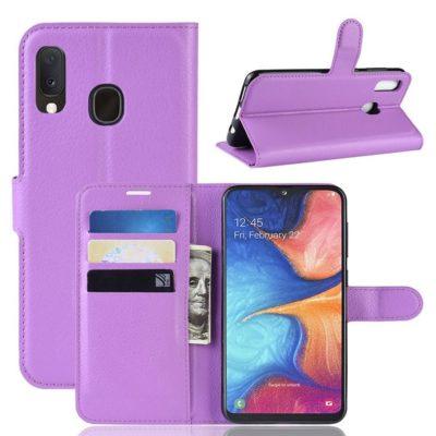 Samsung Galaxy A20e Kotelo PU-Nahka Violetti