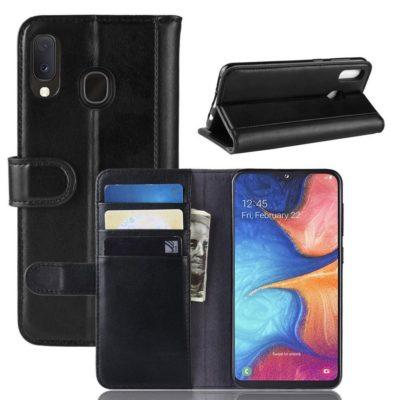 Samsung Galaxy A20e Nahkakotelo Musta