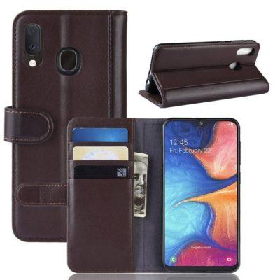 Samsung Galaxy A20e Nahkakotelo Ruskea