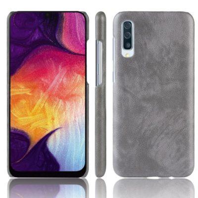 Samsung Galaxy A70 Suojakuori PU-Nahka Harmaa
