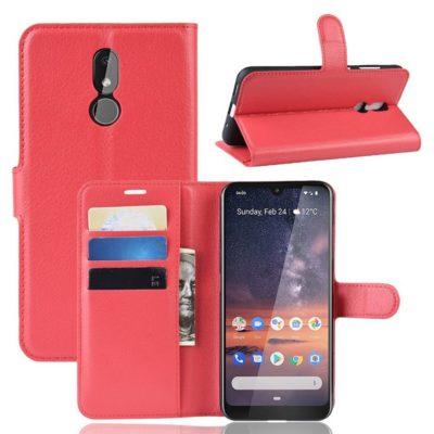 Nokia 3.2 Lompakkokotelo PU-Nahka Punainen