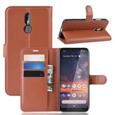 Nokia 3.2 Lompakkokotelo PU-Nahka Ruskea