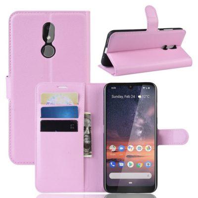 Nokia 3.2 Lompakkokotelo PU-Nahka Vaaleanpunainen
