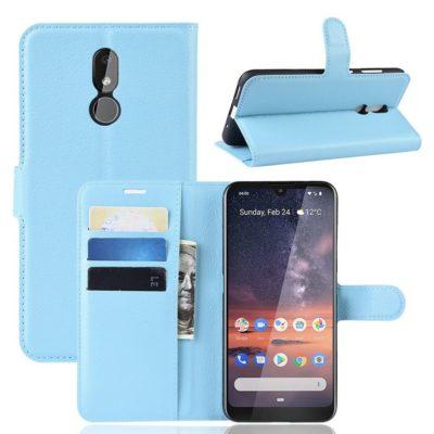 Nokia 3.2 Lompakkokotelo PU-Nahka Vaaleansininen
