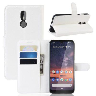 Nokia 3.2 Lompakkokotelo PU-Nahka Valkoinen