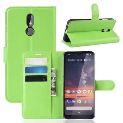 Nokia 3.2 Lompakkokotelo PU-Nahka Vihreä