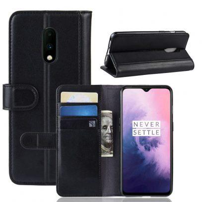 OnePlus 7 Lompakko Suojakotelo Musta Nahka