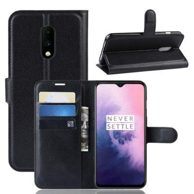 OnePlus 7 Lompakkokotelo PU-Nahka Musta