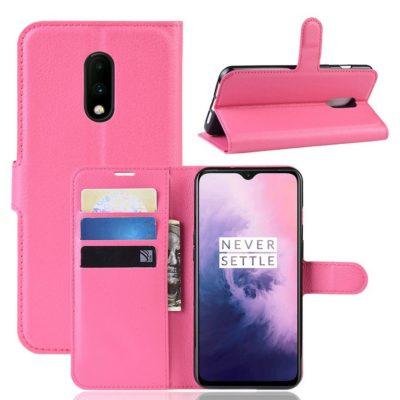 OnePlus 7 Lompakkokotelo PU-Nahka Pinkki