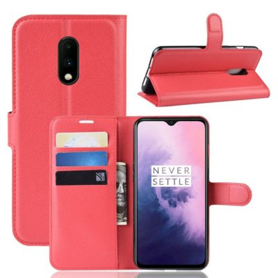 OnePlus 7 Lompakkokotelo PU-Nahka Punainen