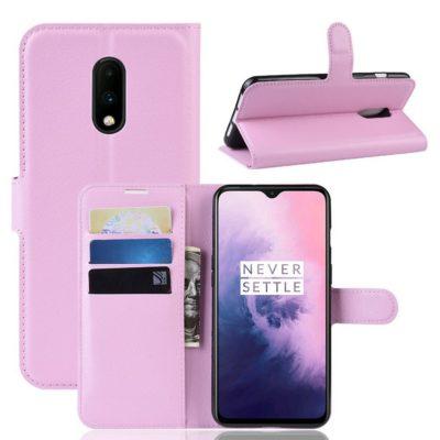 OnePlus 7 Lompakkokotelo PU-Nahka Vaaleanpunainen