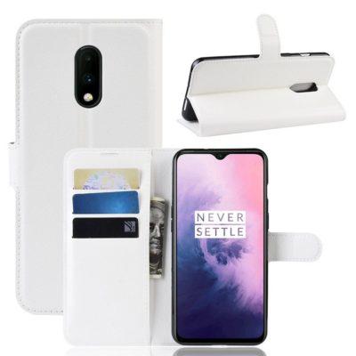 OnePlus 7 Lompakkokotelo PU-Nahka Valkoinen