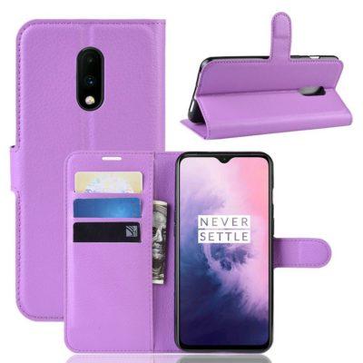 OnePlus 7 Lompakkokotelo PU-Nahka Violetti