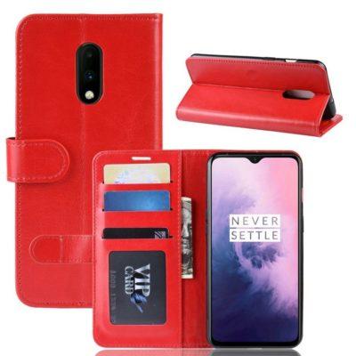 OnePlus 7 Suojakotelo Punainen Lompakko