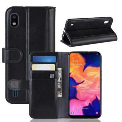 Samsung Galaxy A10 Suojakotelo Musta Nahka