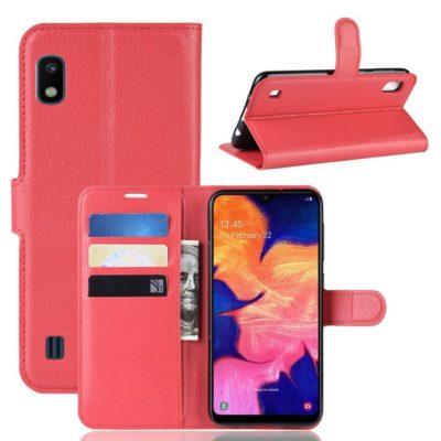 Samsung Galaxy A10 Suojakotelo PU-Nahka Punainen