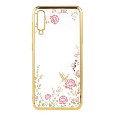 Samsung Galaxy A50 Kukka Kuori Läpinäkyvä Kulta