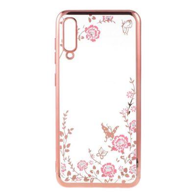Samsung Galaxy A50 Kukka Kuori Läpinäkyvä Ruusukulta
