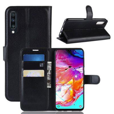 Samsung Galaxy A70 Kotelo PU-Nahka Musta