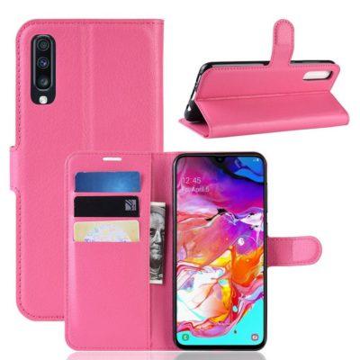 Samsung Galaxy A70 Kotelo PU-Nahka Pinkki