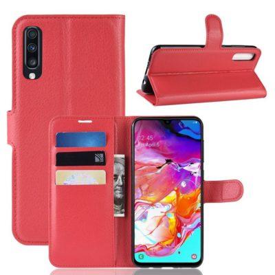 Samsung Galaxy A70 Kotelo PU-Nahka Punainen