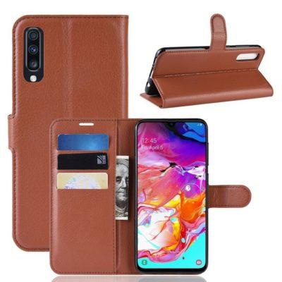 Samsung Galaxy A70 Kotelo PU-Nahka Ruskea