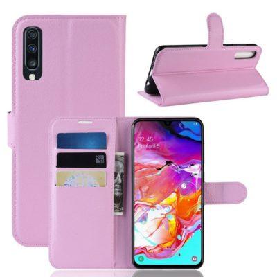 Samsung Galaxy A70 Kotelo PU-Nahka Vaaleanpunainen