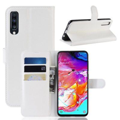 Samsung Galaxy A70 Kotelo PU-Nahka Valkoinen