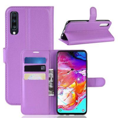 Samsung Galaxy A70 Kotelo PU-Nahka Violetti