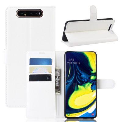 Samsung Galaxy A80 Suojakotelo PU-Nahka Valkoinen