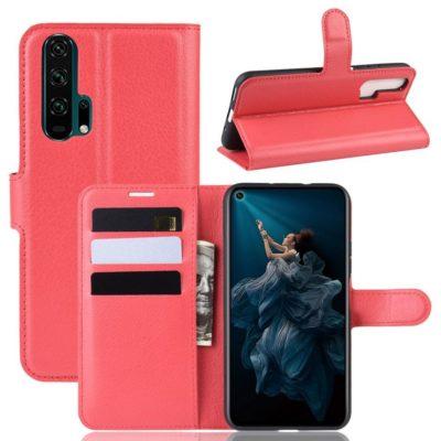Huawei Honor 20 Pro Kotelo PU-Nahka Punainen