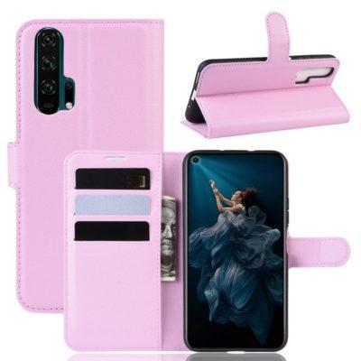 Huawei Honor 20 Pro Kotelo PU-Nahka Vaaleanpunainen