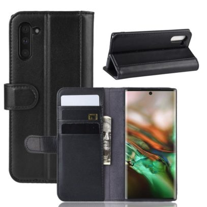 Samsung Galaxy Note 10 Kotelo Musta Nahka