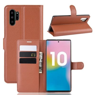 Samsung Galaxy Note 10+ Lompakkokotelo Ruskea