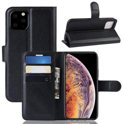 Apple iPhone 11 Pro Max Kotelo PU-Nahka Musta