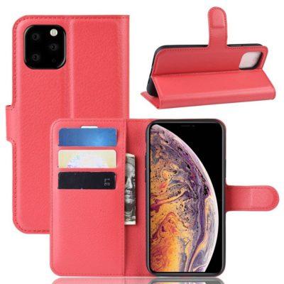 Apple iPhone 11 Pro Max Kotelo PU-Nahka Punainen
