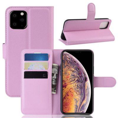 Apple iPhone 11 Pro Max Kotelo PU-Nahka Vaaleanpunainen