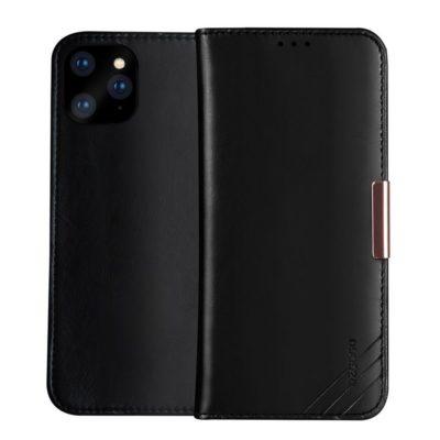Apple iPhone 11 Pro Max Nahkakotelo DZGOGO Musta