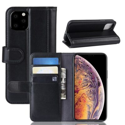 Apple iPhone 11 Pro Max Nahkakotelo Musta