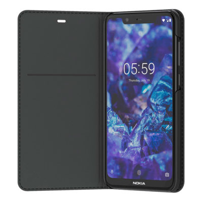Nokia 5.1 Plus Kotelo Entertainment Flip Cover Musta
