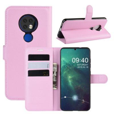 Nokia 7.2 Lompakkokotelo PU-Nahka Vaaleanpunainen