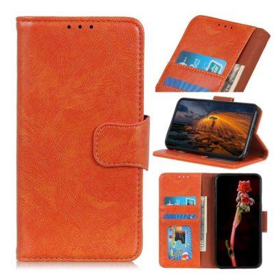 Motorola Moto E6 Plus Suojakotelo Oranssi Nahka