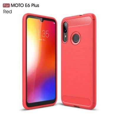 Motorola Moto E6 Plus Suojakuori Hiilikuitu Punainen