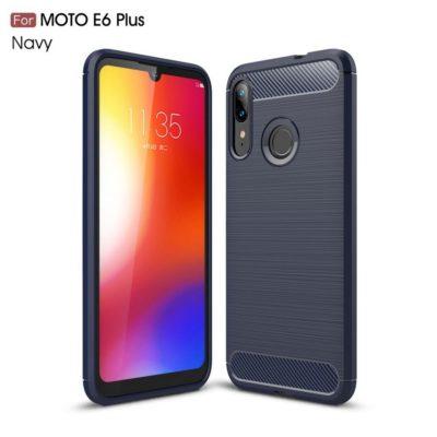 Motorola Moto E6 Plus Suojakuori Hiilikuitu Tummansininen