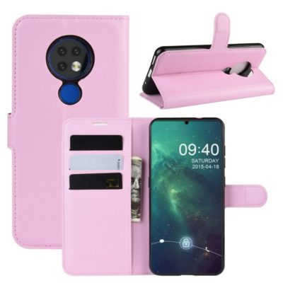 Nokia 6.2 Suojakotelo PU-Nahka Vaaleanpunainen