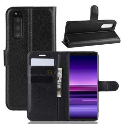 Sony Xperia 5 Suojakotelo PU-Nahka Musta