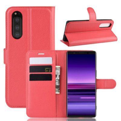 Sony Xperia 5 Suojakotelo PU-Nahka Punainen