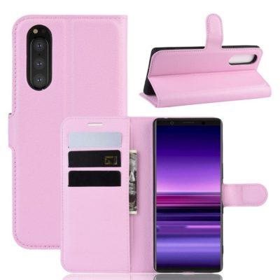 Sony Xperia 5 Suojakotelo PU-Nahka Vaaleanpunainen