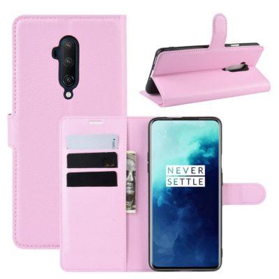 OnePlus 7T Pro Suojakotelo PU-Nahka Vaaleanpunainen
