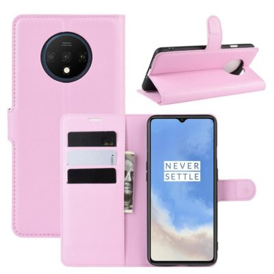 OnePlus 7T Suojakotelo PU-Nahka Vaaleanpunainen